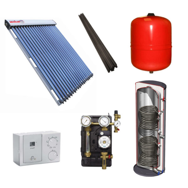 Polar Bear on roof 30 tube solar panel pack with cylinder-1127