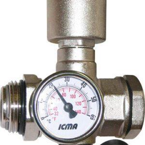 "Aquaflow 1"" valve, with drain, auto air vent & thermometer -0"
