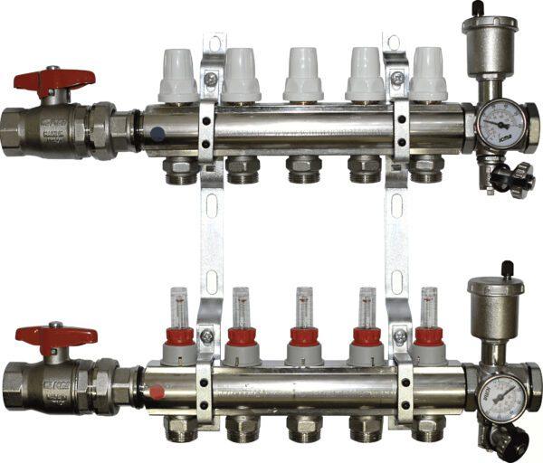 Aquaflow 6 Port chrome plated manifold complete-0