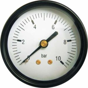 "Back entry pressure gauge 1/4"" tapping (0-10 bar) -0"