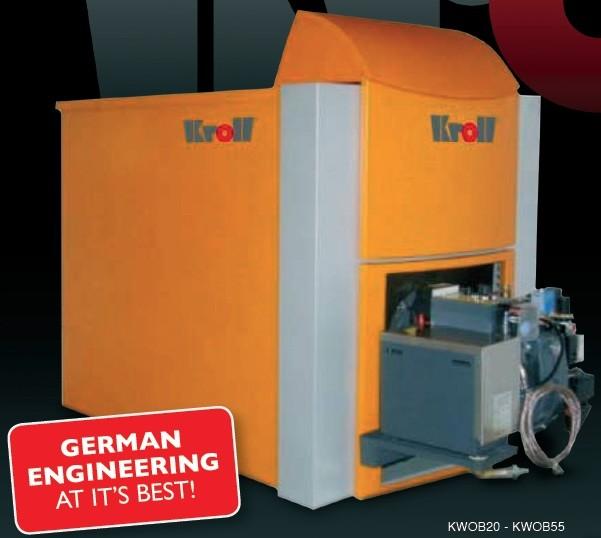 63KW Kroll Waste oil boiler complete with boiler, burner, external fuel delivery system, 4 meters single wall flue-0